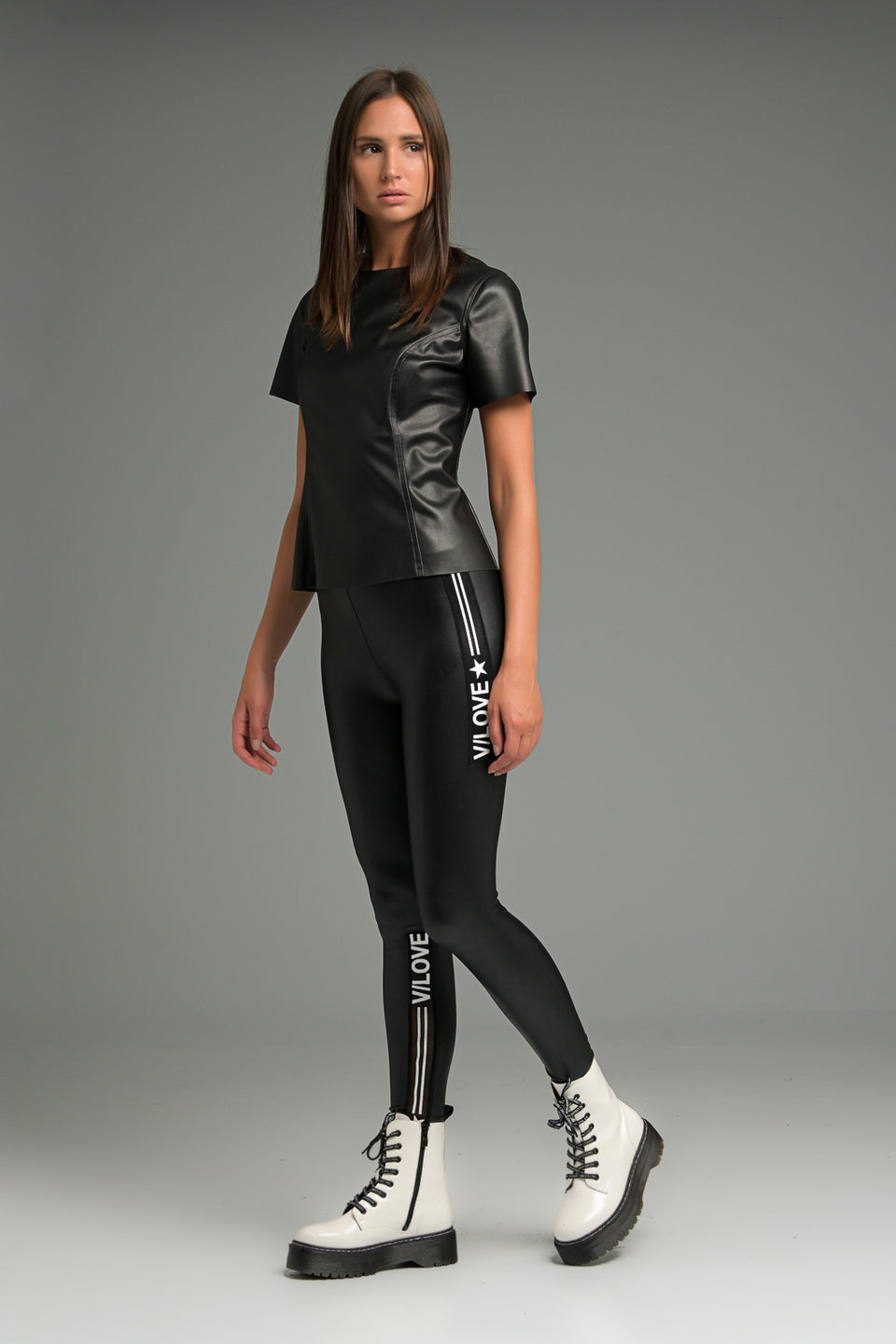 FAUX LEATHER SIDE-STRIPE LEGGINGS