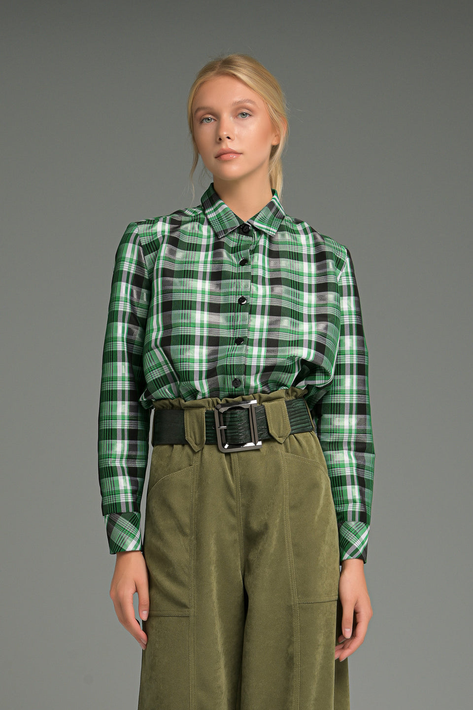 TAFFETA CHECK SHIRT WITH COLAR
