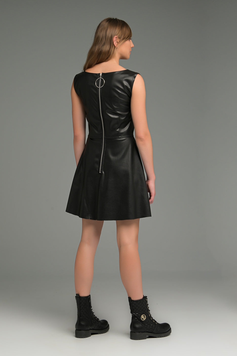 FAUX LEATHER MINI DRESS WITH ZIPPER FAUX LEATHER MINI DRESS WITH ZIPPER