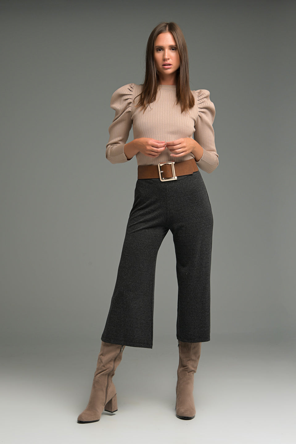 WIDE LEG CROP TROUSERS IN SOFT FABRIC
