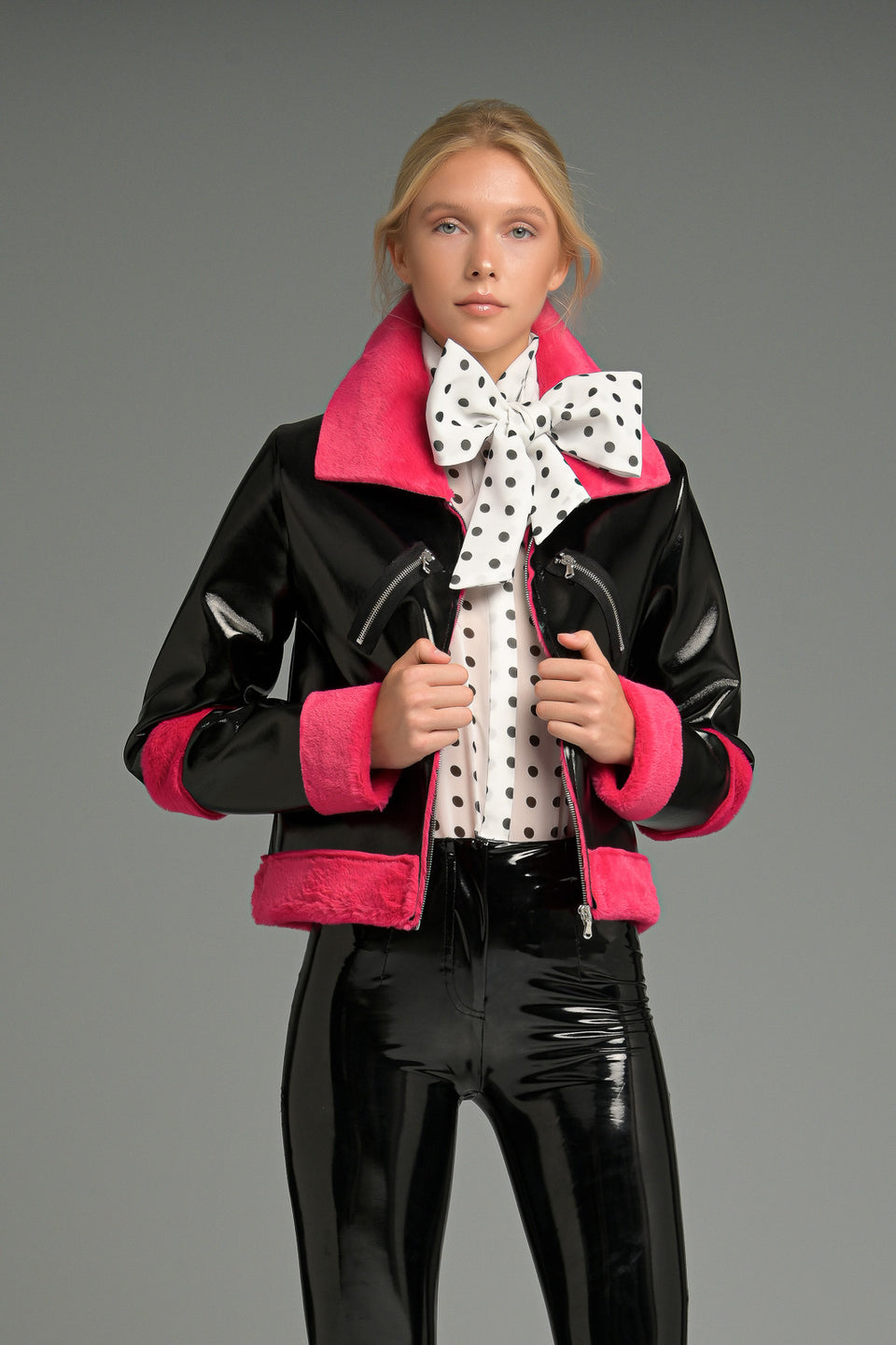 FAUX LEATHER JACKET WITH FUR AND DECORATIVE ZIP