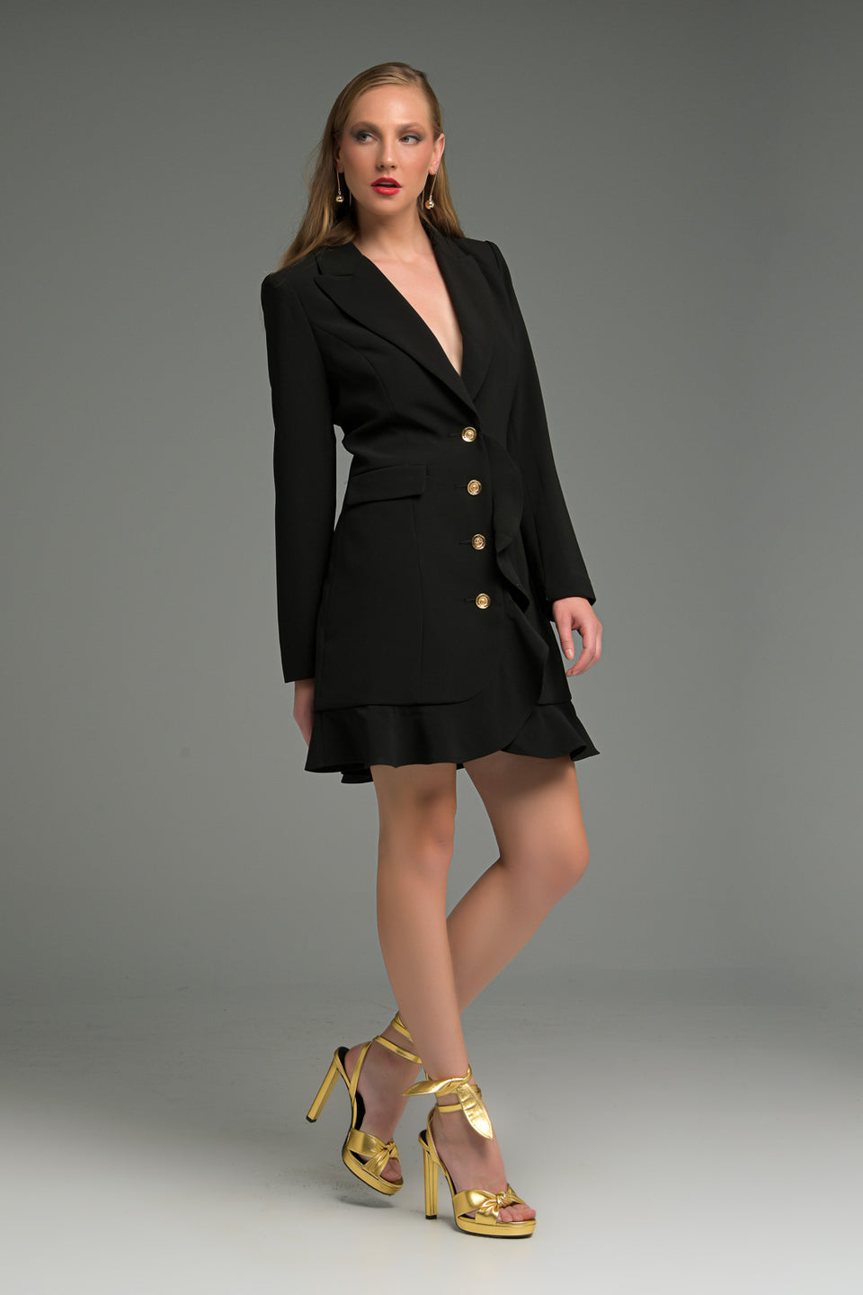 BLAZER DRESS WITH GOLD BUTTONS AND RUFFLE DECORATIVECORAT BLAZER DRESS WITH GOLD BUTTONS AND RUFFLE DECORATIVECORAT
