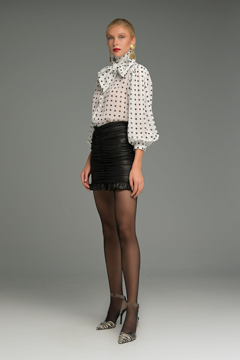 FAUX LEATHER GATHERED MINI SKIRT FAUX LEATHER GATHERED MINI SKIRT