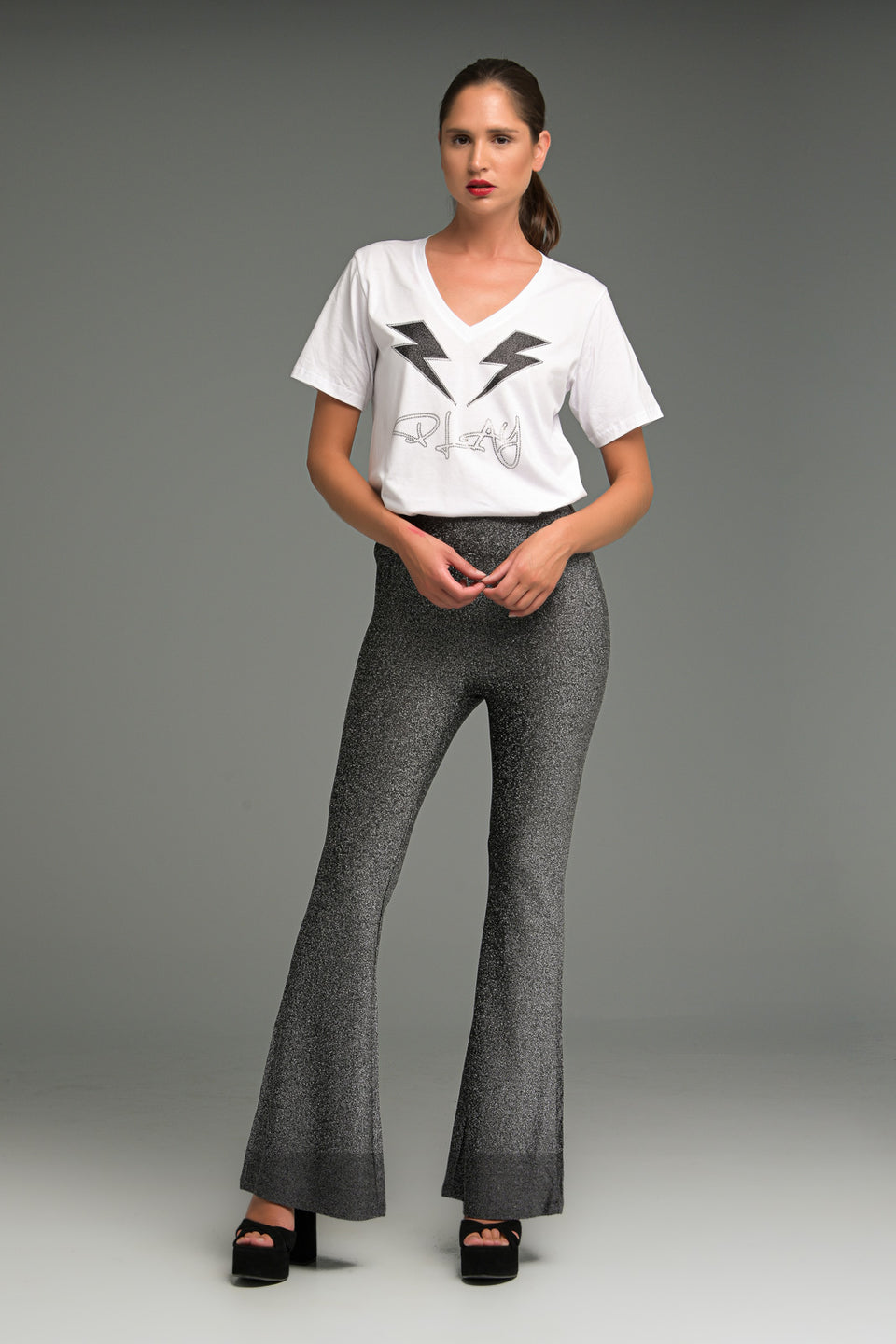 HIGHT WAIST STRETCHY BELL BOTTOM TROUSERS IN LUREX FABRIC SILVER