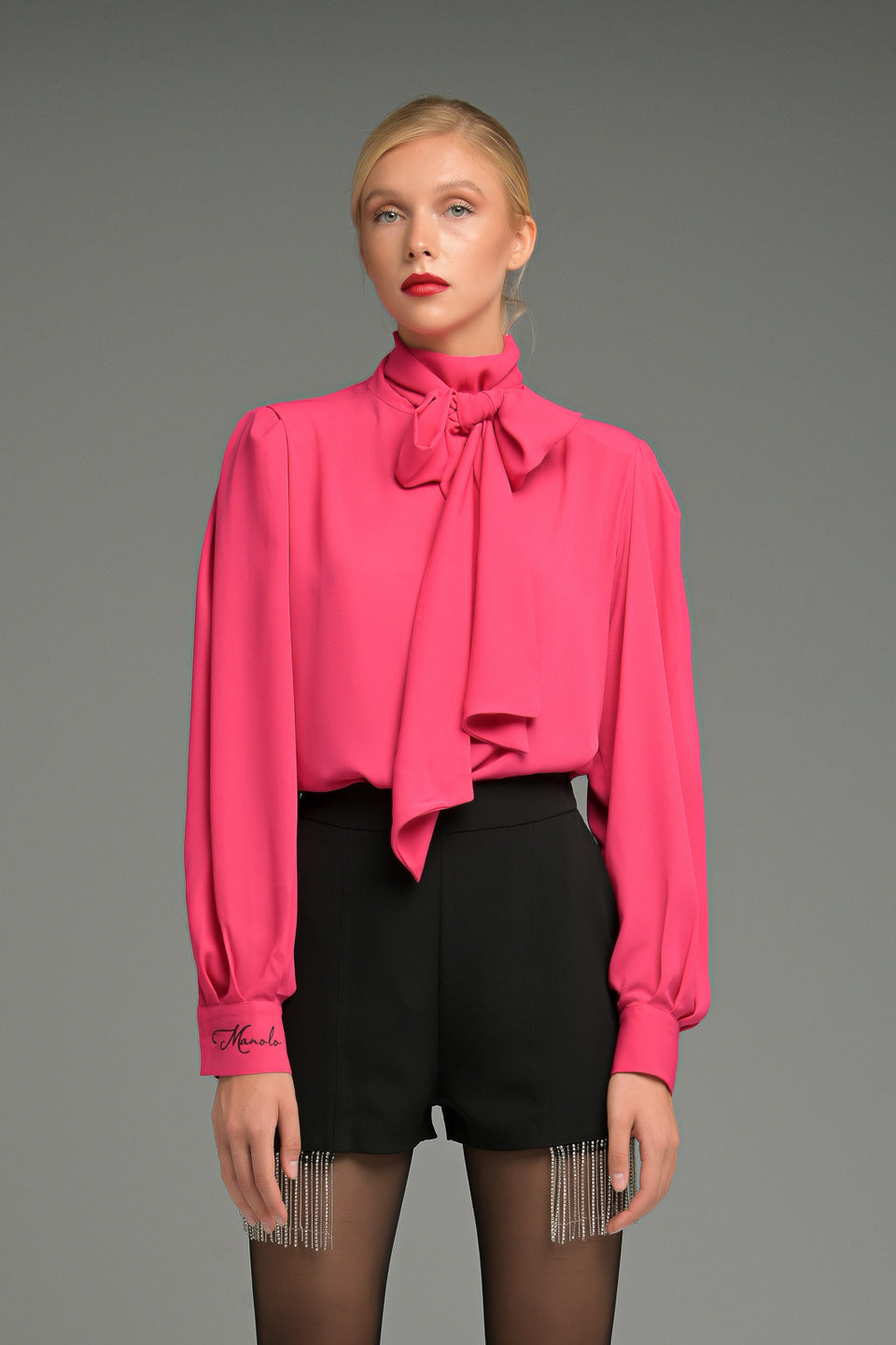 PUFF SLEEVES SHIRT WITH TIE NECK PUFF SLEEVES SHIRT WITH TIE NECK