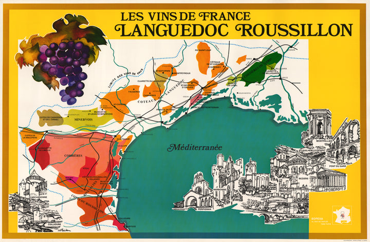Vintage Wine Poster / Map of the South of France : Les Vins de France Languedoc Roussillon By: Sopexa Date: 1970s
