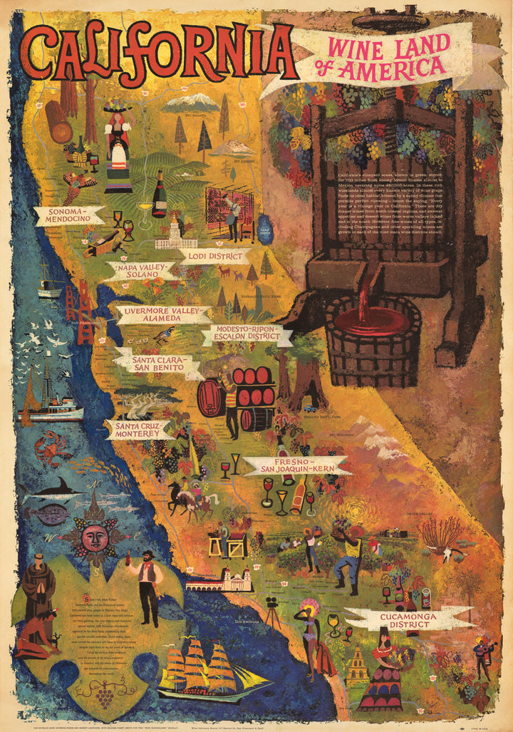 Vintage Pictorial Map of California's Wine Regions : California Wine Land of America By: Amado Gonzalez Date: 1970s