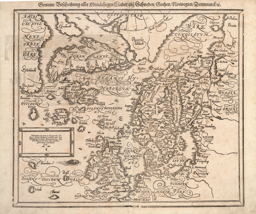 Antique Map of the British Isles, Scandinavia, Iceland, Greenland - Gemeine Beschreibung Aller Mitnachtigen Lander/alsz Schweden/Goten/ By: Sebastian Munster Date: 1588
