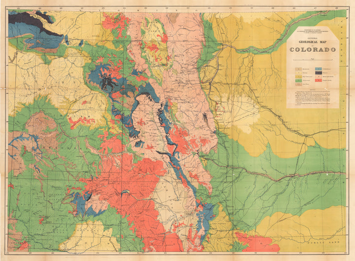 New World Cartographic : Antique Geologic Map of Colorado - General Geologic Map of Colorado By: Hayden / Department of Interior Date: 1878