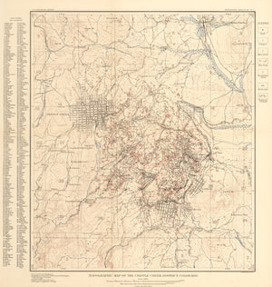 New World Cartographic : Antique Gold Rush Map of Cripple Creek, Colorado - Topographic Map of the Cripple Creek District, Colorado By: E.M. Douglas / USGS Date: 1904