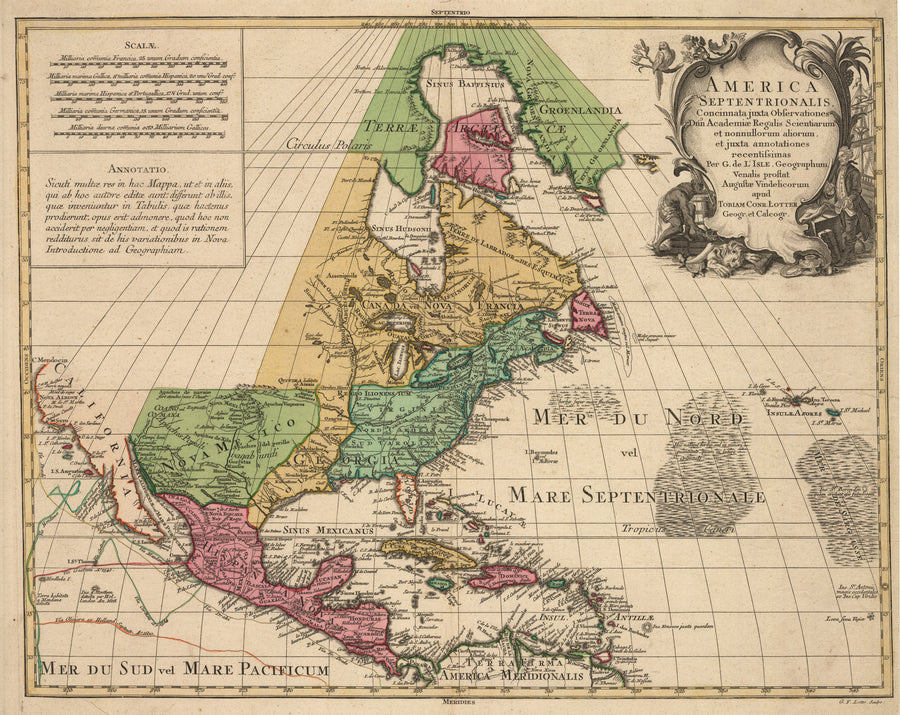New World Cartographic | Antique Map of North America - America Septentrionalis Concinnata juxta Observationes... By: T.C. Lotter, Date: 1770