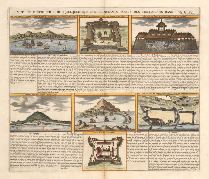 Antique Print - View and Description of the Principal Dutch Forts in the East Indies by Chatelain 1719