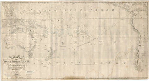 1860 A New Chart of the South Pacific Ocean Including Australia, the East India Islands…
