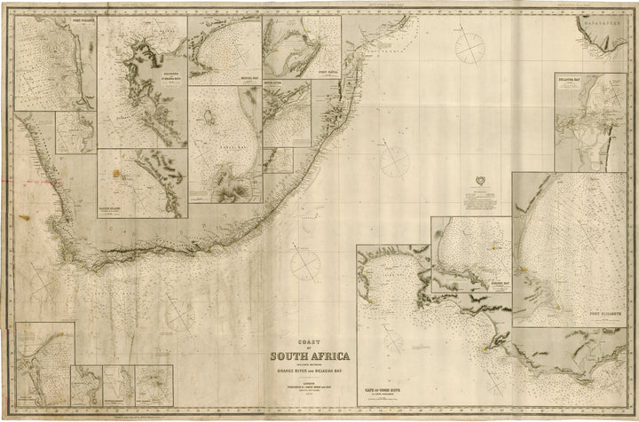 Antique Nautical Chart - Coast of South Africa Included Between Orange River and Delagoa Bay by James Imray, 1895