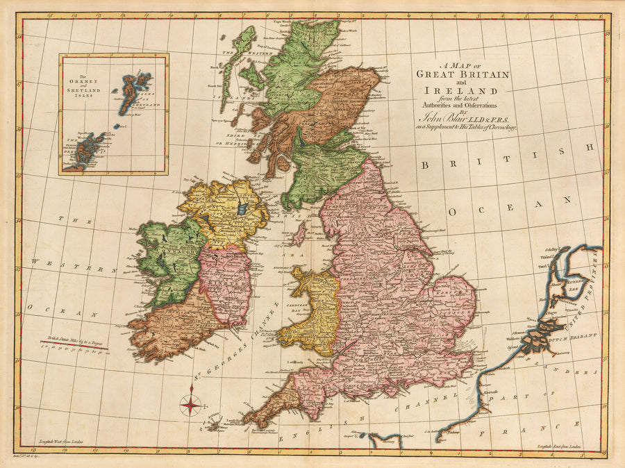A Map of Great Britain and Ireland from the latest Authorities and Observations...By: John Blair Date: 1779