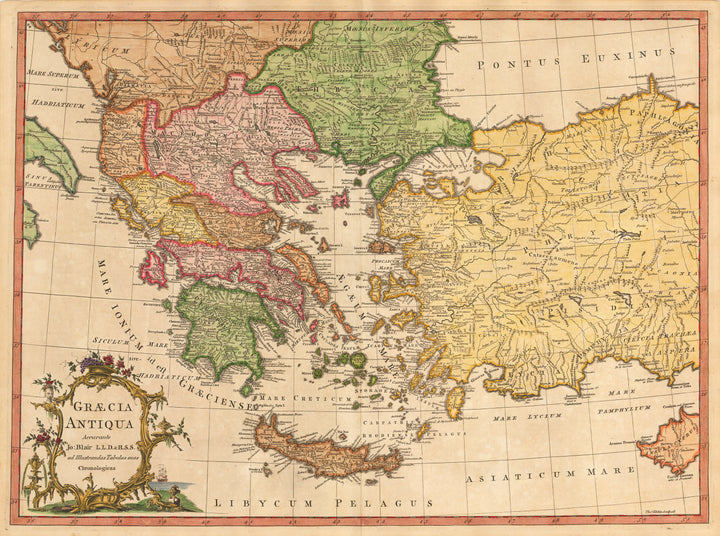 Antique Map of Greece and Turkey : Graecia Antiqua Accurante… By: John Blair Date: 1779