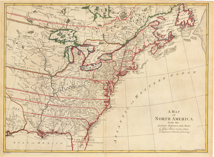 Antique Map of North America by Blair, 1779