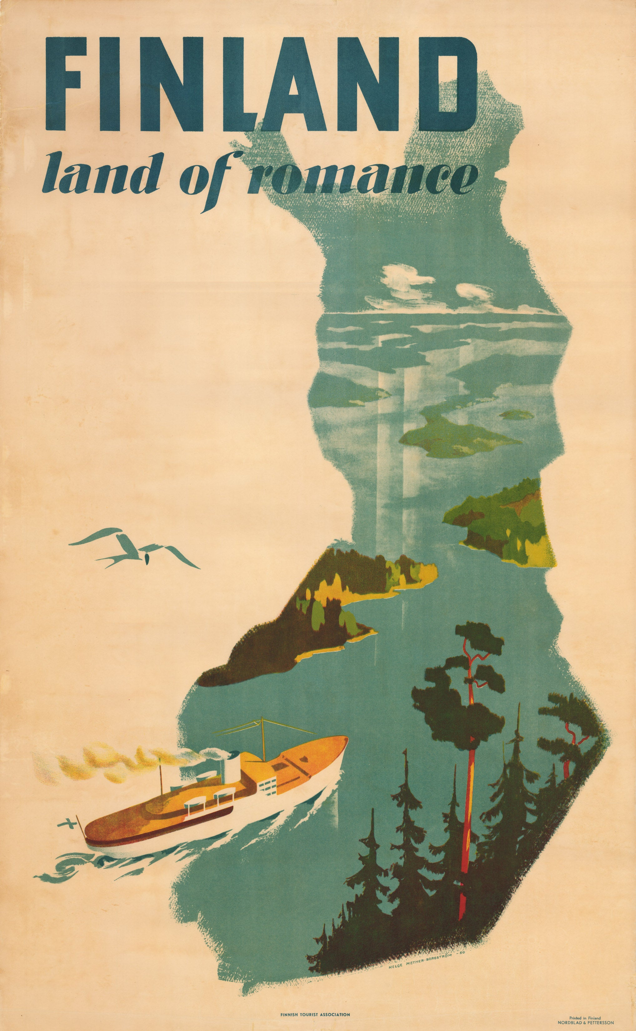 Finland Land of Romance Mid-Century Travel Poster 1950