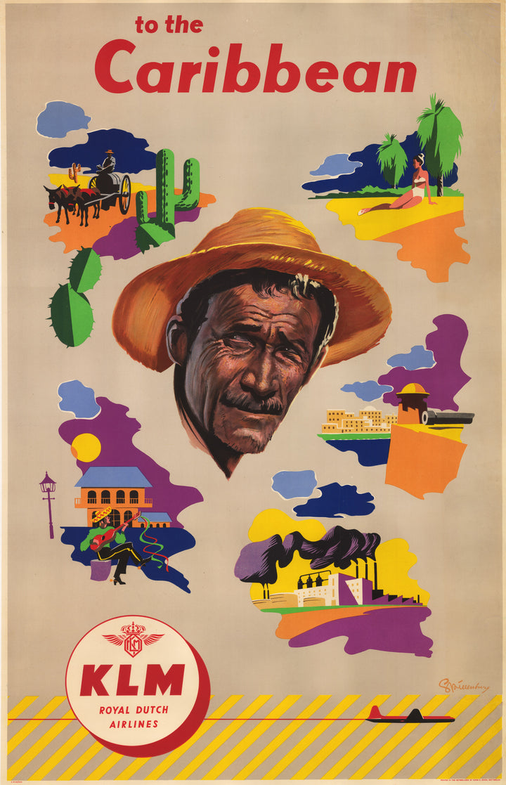 Vintage mid-century, art decco travel poster for KLM Royal Dutch Airlines to the Caribbean