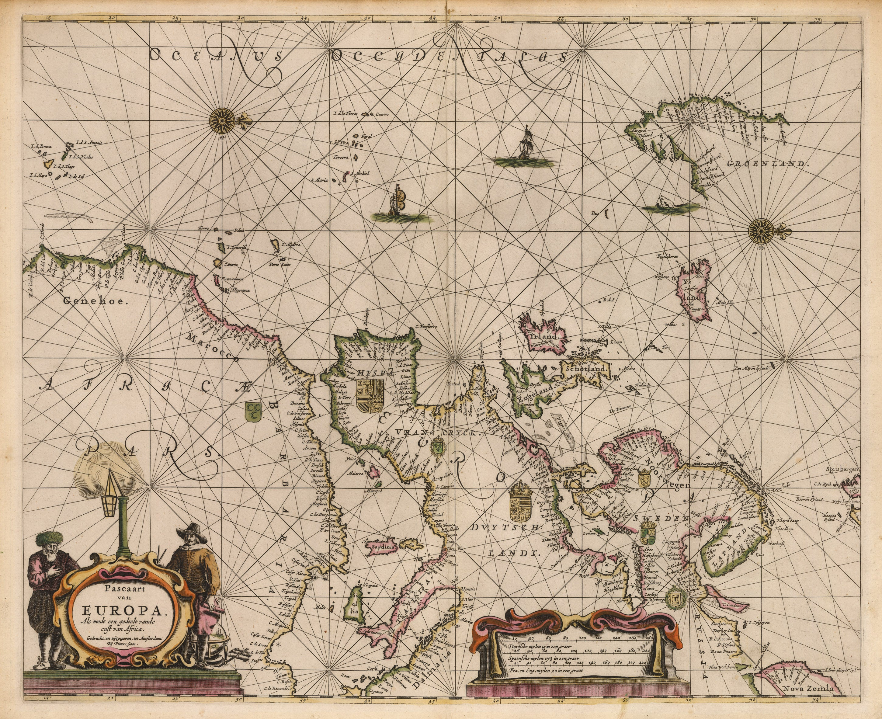 Antique Nautical Map : Pascaart van Europa, Als mede een gedeelt vande cust von Africa. by Goos, 1666