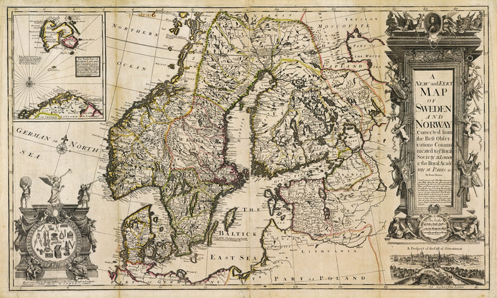 Antique Map : A new and exact map of Sweden and Norway : corrected from the best observations communicated to ye Royal Society at London & the Royal Academy at Paris &c. by Emanuel Bowen, 1717