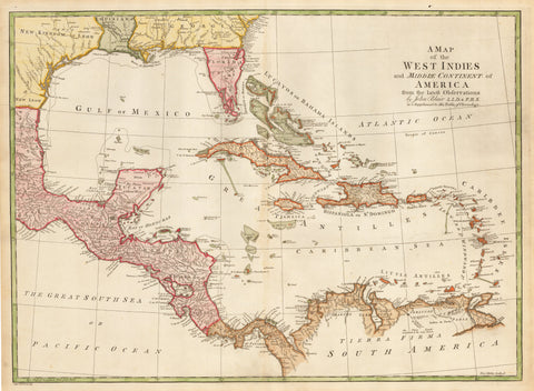 1779 A Map of the West Indies and Middle Continent of America from the Latest Observations