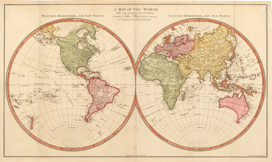 Antique Double Hemisphere World Map - A Map of the World with the Lastest Discoveries... By: John Blair Date: 1779
