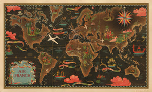 Air France Vintage World Map by Lucien Boucher, 1947