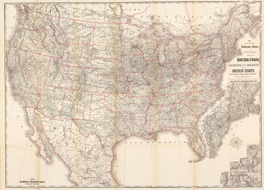 1889 New Official Railroad, State and Territorial Map of the United States of America, Canada and Mexico