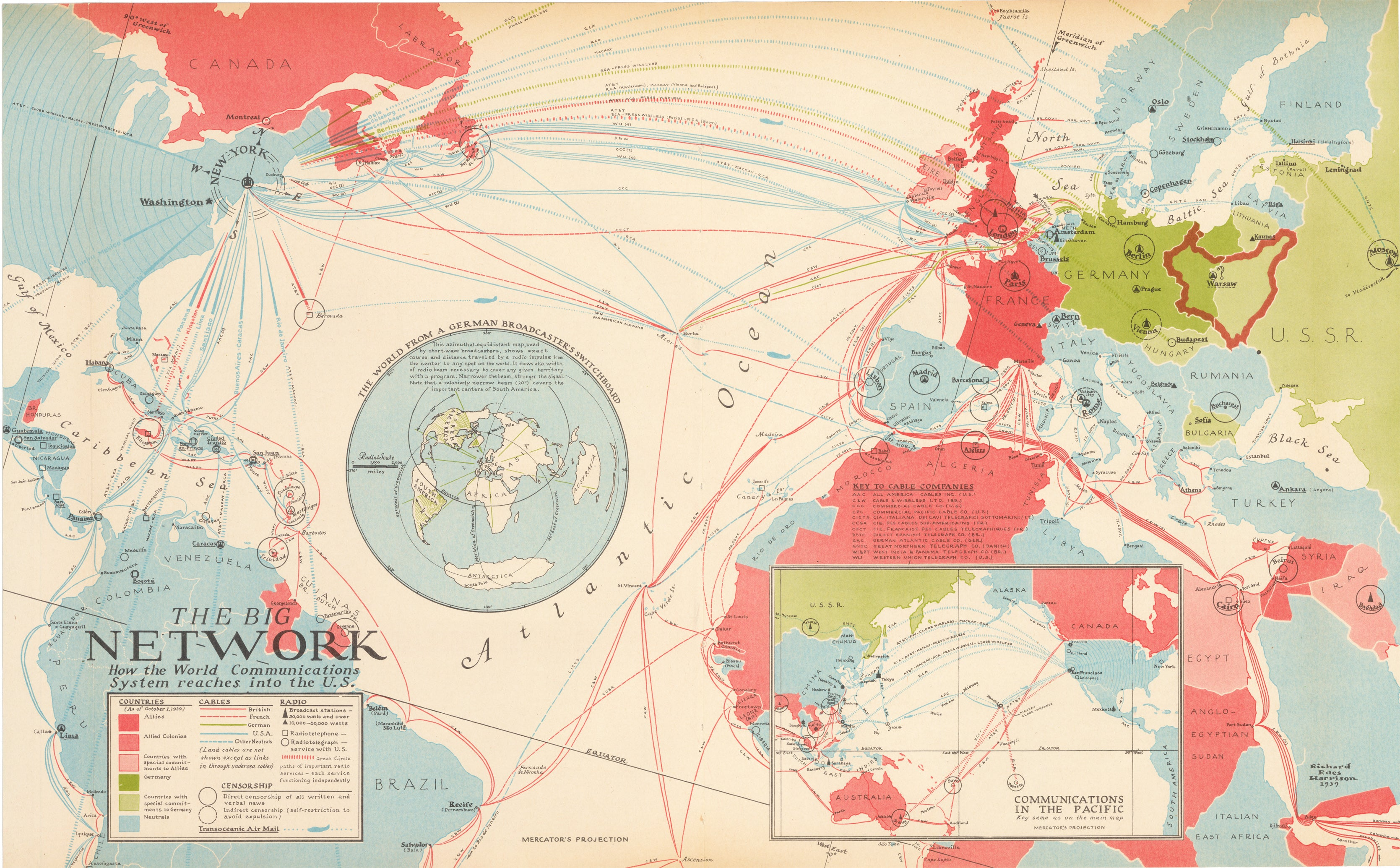 The Big Network; How the World Communication System Reaches the U.S. by Harrison, 1939