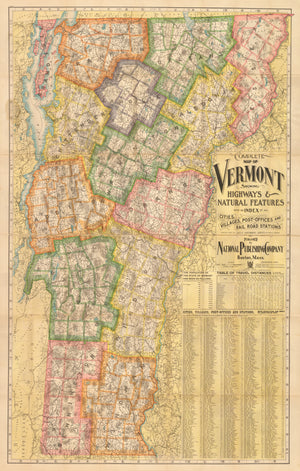 Complete Map of Vermont Showing Highways & Natural Features , 1902