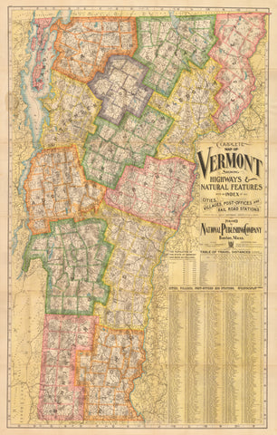 1902 Complete Map of Vermont Showing Highways & Natural Features...