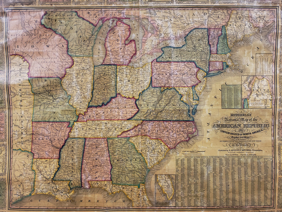 1843 Mitchells' National Map of the American Republic or United States of North America