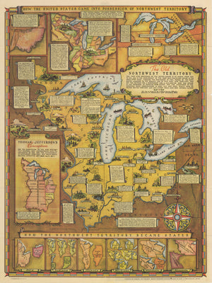 Antique Map | How The United States Came Into The Possession Of Northwest Territory By: Fred Rentschler, 1937