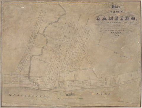 1854 Map of the Town of Lansing, Allamake Co. Iowa.