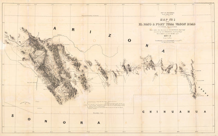 Map No 1 of the El Paso & Fort Yuma Wagon Road Yuma Wagon Road 1858