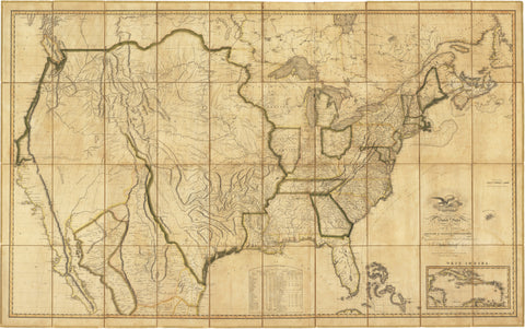 1816 Map of the United States with the contiguous British and Spanish Possessions