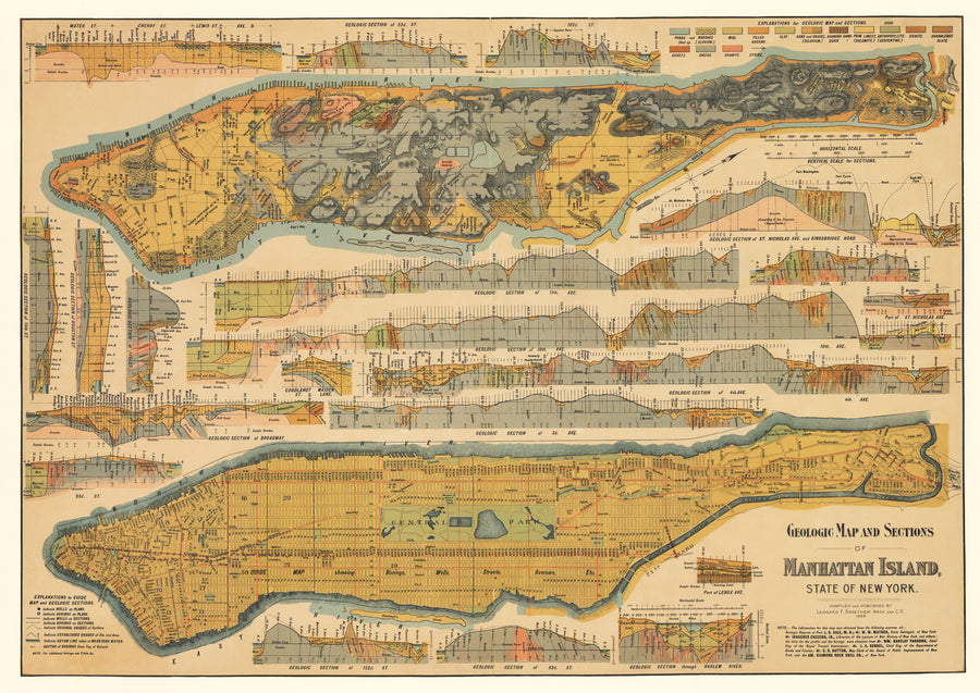 Geologic Map and Sections of Manhattan Island State of New York by: Leonard F. Graether, 1898