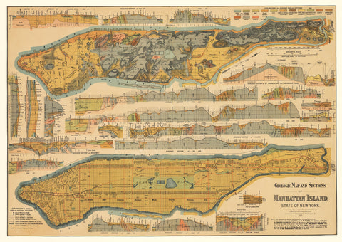 1898 Geologic Map and Sections of Manhattan Island State of New York