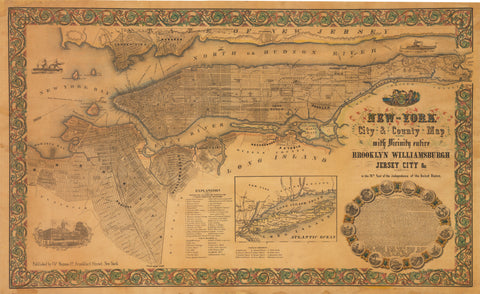 1855 New-York City & County Map with Vicinity entire Brooklyn Williamsburgh Jersey City & c.