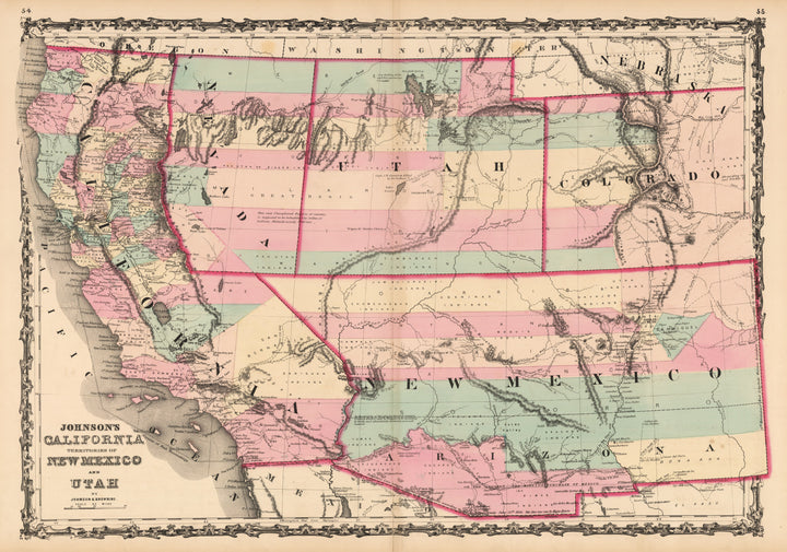 Johnson's California, Territories of New Mexico and Utah, 1862 | New World Cartographic