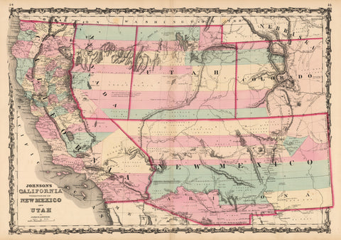 1862 Johnson's California, Territories of New Mexico and Utah