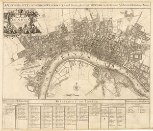 A Plan of the City's of London, Westminster and Borough of Southwark; with the new Additional Buildings anno 1720 By: John Senex, 1720