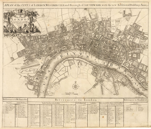 1720 A Plan of the City's of London, Westminster and Borough of Southwark...