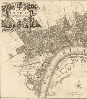 A Plan of the City's of London, Westminster and Borough of Southwark; with the new Additional Buildings anno 1720 By: John Senex