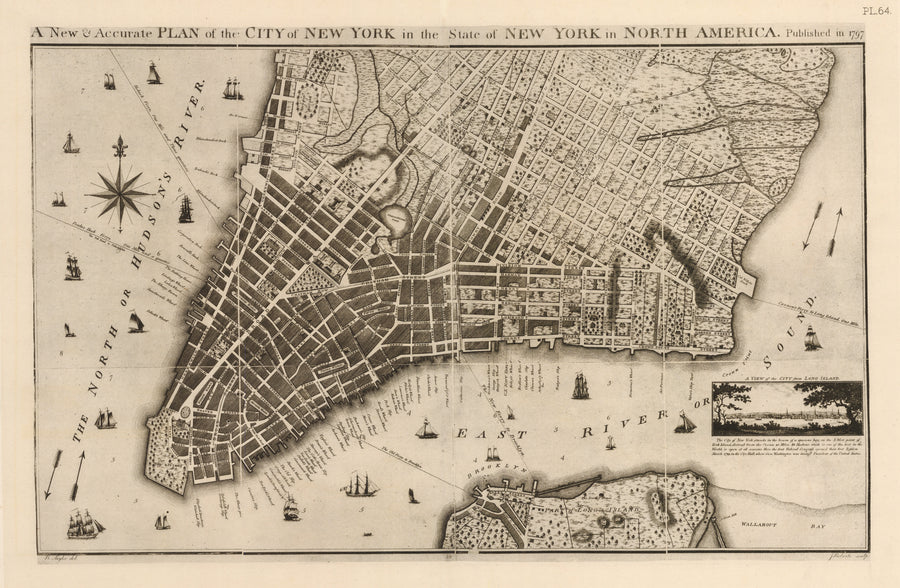 A New & Accurate Plan of the City of New York in the State of New York in North America.  By:  B. Taylor engraved by J. Roberts  Date: 1797 (reprinted) 1915 New York
