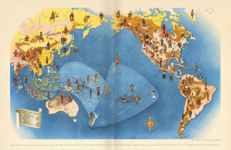 Pageant of the Pacific: PLATE I. Peoples of the Pacific  by Miguel Covarrubias 1940