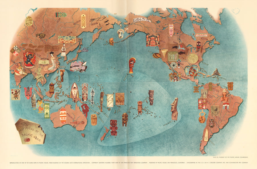 Pageant of the Pacific: PLATE III. Art Forms of the Pacific by: Miguel Covarrubias, 1940