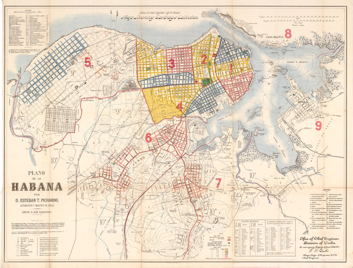 Plano de la Habana by: Jose D. Valdepares, 1900 - Antique Map of Havana Cuba