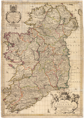 1711 A Correct Map of Ireland Divided into it's Provinces, Counties, and Baronies...